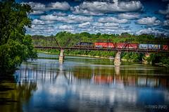 N&D WESTERN (RIVERBED IMAGES) Tags: railroadbridge bridge river transportation trains railroads railroading rails localmotives dieseltrains clouds maumeeriver