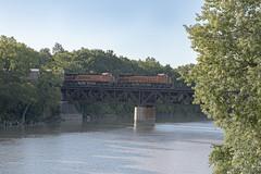 BNSF GE 6158 (RIVERBED IMAGES) Tags: bnsf transportation trains river railroads rails railroad railroading railroadbridge rivers bridge