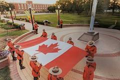 Police - RCMP - Sunset retreat ceremony, Regina, SK # swap - Jason (a_garvey) Tags: postcard postcrossing canada saskatchewan police rcmp regina flag people