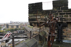 Defending the city.   IMG_0470 (alisonhalliday) Tags: newcastleupontyne castle ancientstructure history walls ironman ironsoldier cityscape canoneosrp canonefs18135mm artwork archer clichesaturday hcs