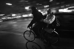 18012012-IMG_0092 bw (Erwan Zescoobet) Tags: paris panning photoderue parislanuit parisienne parisian bicycle filé nightlights nuit night noiretblanc winter lumières lights lovo flou