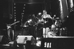 Pistol Bridge at Panorama Music House (radargeek) Tags: film 35mm 2019 oklahoma bw iso3200 minolta x370s pistolbridge thepanoramamusichouse lakecharles louisiana la singing