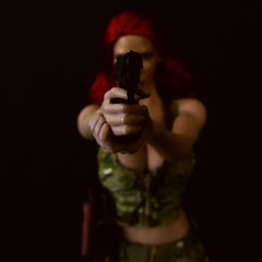 In her sights (Blondeactionman) Tags: bamhq one six scale doll phicen action figure shadow photography agent of bam bianca