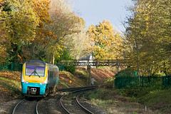 Autumn. 175004 1W52 0555 Milford Haven - Manchester leaves Abergavenny 14.11.2019 (The Cwmbran Creature.) Tags: british rail class train trains railway 175 tfw transport for wales marches passenger