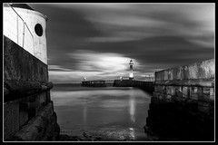 IMG_0471 West Pier Lighthouse Re-Edit (Scotchjohnnie) Tags: westpier lighthouse reflection northsea riveresk blackwhite blackandwhite mono monochrome lowlight longexposure whitby yorkshire northyorkshire canon canoneos canon7dmkii canonef24105mmf4lisusm scotchjohnnie