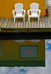 Barge shop with two white chairs on Granville Island, Vancouver, Canada (albatz) Tags: granvilleisland vancouver canada barge shop two white chairs