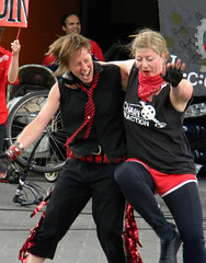Dancing on Canada Day on Granville Island, Vancouver, Canada (albatz) Tags: granvilleisland vancouver canada canadaday july1 red dancing