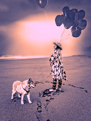 FIZZY & BANDIT -  CENTERVILLE BEACH COUNTY PARK - FERNDALE, CA - 11-13-2019-3024WX4032H-300PPI © Cody Jacobson-ZEN MOUNTAIN MEDIA all rights reserved (codyjacobson@zenmountainmedia.com) Tags: fantasypainting beach portrait woman dog wife balloons wave fog haze