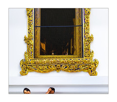 hands on heads (Armin Fuchs) Tags: arminfuchs bangkok thailand 6x7 window people man woman buddha buddhism gold watarun stripes white wall net