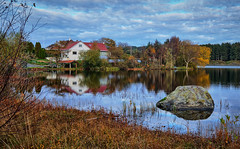 Norway (Vest der ute) Tags: xt2 norway rogaland haugesund water waterscape landscape trees houses reflections mirror sky clouds foliage rock fav25