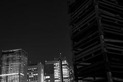 Buildings and High-rise building (nishitoshi) Tags: d850 nikon japan tokyo mono monochrom street night building black white sky light shadow