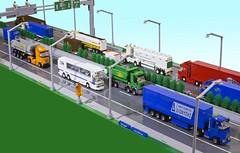 Greek National Highway Road (George Legoman) Tags: truck bus lego legoland riglegoland road tractor tanker tipper transport town trailer semitrailer shell 4studs 4studswide maersk moc meiller mail