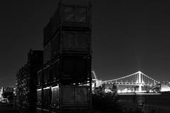 Watch the baskets and the bridge (nishitoshi) Tags: d850 nikon japan tokyo mono monochrom street night building black white sky light shadow