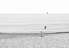 Hombre y Mar (Bart van Hofwegen) Tags: man sea bathe beach alone lonely horizon monochrome blackandwhite minimal minimalistic minimalism empty negativespace