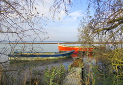 IMG_0014y (gzammarchi) Tags: italia paesaggio natura ravenna portocorsini piallassabaiona piallassa lago barca coppia pontile cornice