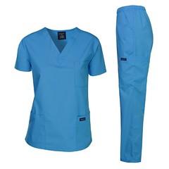 Dagacci Medical Uniform Woman and Man Scrub Set Unisex Medical Scrub Top and Pant, Turquoise, L (shop8447) Tags: dagacci man medical pant scrub set top turquoise uniform unisex woman