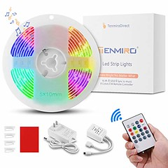LED Strip Lights, Tenmiro 16.4ft LED Music Sync Color Changing Lights with 20keys Music Remote Controller and 12V Power Supply, SMD5050 RGB Led Strips for Room, Bedroom, TV, Party (shop8447) Tags: 12v 20keys bedroom changing color controller for led lights music party power remote rgb room smd5050 strip strips supply sync tenmiro tv with