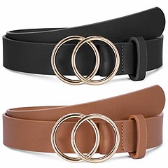 2 Pack Fashion Leather Belts for Women with Gold Double O-Ring Buckle (shop8447) Tags: belts buckle double fashion for gold leather oring pack with women