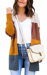 ECOWISH Womens Color Block Striped Draped Kimono Cardigan with Pockets Long Sleeve Open Front Casual Knit Sweaters Coat (shop8447) Tags: block cardigan casual coat color draped ecowish front kimono knit long open pockets sleeve striped sweaters with womens