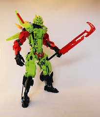 Nitro (Ron Folkers) Tags: bignicle bionicle moc lego technic ccbs green lime red black sword big fire boosters