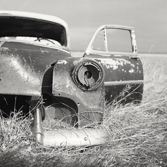 Rolleicord V / Rollei Superpan 200. (Explored) (Fistfulofpowder) Tags: rolleicord v tlr twin lens reflex 120 film 6x6 square format medium abandoned saskatchewan car junk rust crust abandonment yellow filter