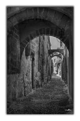 Rhodes, vieille ruelle (Françoise kERVAREC) Tags: grècce rhodes ruelle vieillespierres noiretblanc