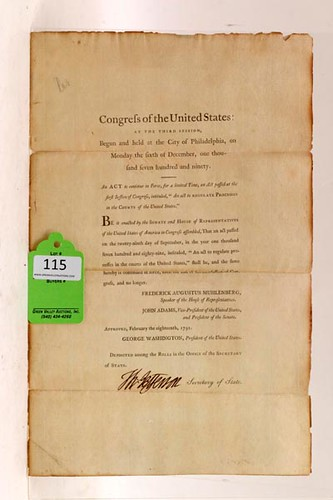 1791 Thomas Jefferson Signed Document ($8,400.00)