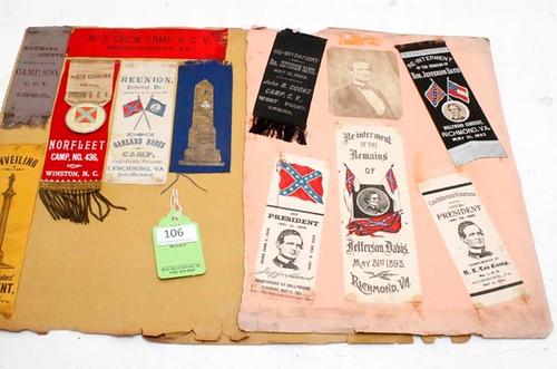 Confederate Reunion & Jeff Davis Ribbons ($616.00)