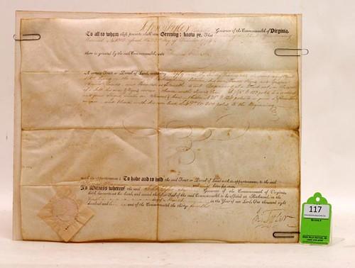 1810 John Tyler, Sr. Signed Land Deed ($588.00)