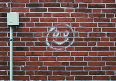 Smile an everlasting smile.. (erlingraahede) Tags: faded bricks lines bedifferent autumn simplicity poetic canon smile wall vsco denmark