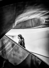 Girl as part of the machine (Andy J Newman) Tags: wellcomecollection z6 nikon art street bandw young collection mirrorless gallery girl monochrome contrast woman stark candid lady euston blackandwhite wellcome london