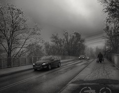 On the bridge (wojciechpolewski) Tags: bridge autumn morning car people streetexplorer urbanexplorer urban blackandwhite blanconegro blackwhite schwarzweis poland wpolewski photos photo frozenday frost