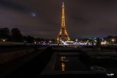 Parigi (capellini.chiara) Tags: longexposure paris france night lights toureiffel luci francia notte parigi moon trocadéro réflection