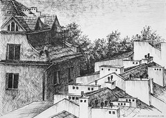 Roofs study (anna.kuchniak@vp.pl) Tags: architecture city fineliner roofs town ink black white chimneys