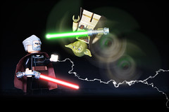 LEGO Count Dooku Vs Yoda (weeLEGOman) Tags: lego count dooku master yoda sith jedi star wars phantom menace vs green red lightsaber battle lightning motion minifigure minifigures mini figure toy macro photography uk nikon d7100 105mm robert rob trevissmith weelegoman