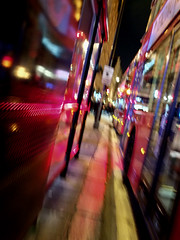 Piccadilly 13nov19 (richardbw9) Tags: london uk westminster mayfair piccadilly evening blur bus lights wet busstop city street urban streetshot streetphoto streetphotography abstract dazzle doubledecker kerb