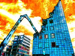 the buildings death (j.p.yef) Tags: peterfey jpyef yef germany hamburg cityhof abriss demolition digitalart photomanipulation iphone