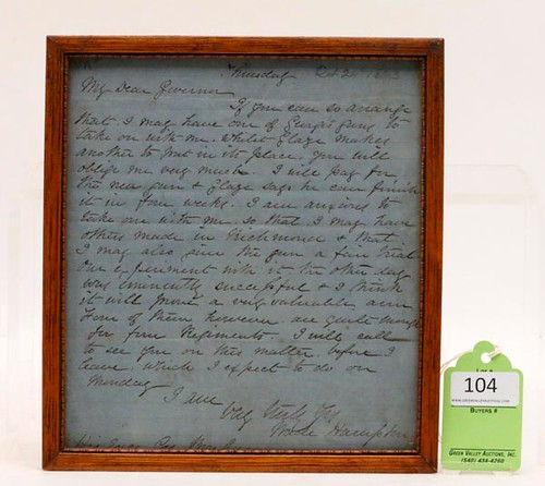 1863 Confederate Gen. Wade Hampton Letter ($1,456.00)