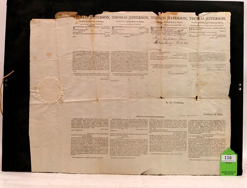 1806 Jefferson & Madison Historic Signed Document ($3,136.00)