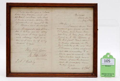1867 CSA Lt. John Esten Cooke Letter ($392.00)