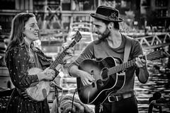 Bristol Buskers (Andy J Newman) Tags: nikon street d500 bandw young harbourside boy guitar girl monochrome blackandwhite candid bristol busker bristoldocks guitarist bw harbour beard england unitedkingdom