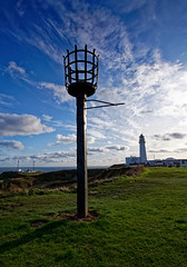 Old and new. (S.K.1963) Tags: flamborough yorkshire england coast sea sky clouds light house lantern sony a7iii tamron 1728 28