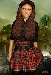 *MIRUS* DuNoon Outfit w Hud Legacy Maitreya Belleza Slink (V1CT0RIA) Tags: legacy mirus mesh marketplace maitreya model belleza body belt secondlife slink sl woman winter new clothing creation casual gothic punky shirt skirt outfit o