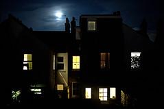 Moonrise in Suburbia (Croydon Clicker) Tags: moon moonrise houses windows lights clouds sky night dark nikon nikkor