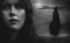 Nightbirds and broken wings. (andredekok) Tags: girl woman darkness bw monochrome textures composition loneliness sadness dream