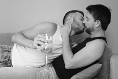 Playtime # 74 (just.Luc) Tags: gay men kiss kus bisou baiser kuss mannen männer hommes hombres uomini bn nb zw monochroom monotone monochrome bw man male homme hombre uomo mann young jung jong jeune baard barbe barba bart beard wijnglas verredevin wineglass amoureux couple stel geliefden partners lovers love liefde liebe amor amour