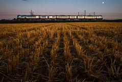 Harvest Moon (Andrew Shenton) Tags: transpennine york stubble moon harvest field railway colton junction train