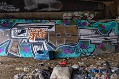 Red Shoe & Pillow (Solojoe ️) Tags: graffit graff graffito artwork highlevelbridge crime urbandecay spraypaint art tag tagged garbage trash gun