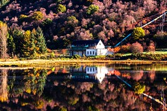 Reflection in autom colours Loch Striven hydro power house. (ranjo sheikh) Tags: canonlenses canonuk scottishhighlands reflection reflectionphotography holiday travelphotography scotland landscapephotography