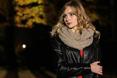 Night in the Park (Pavlo Kuzyk) Tags: girl blonde pretty jacket scarf tree autumn fall nature canon
